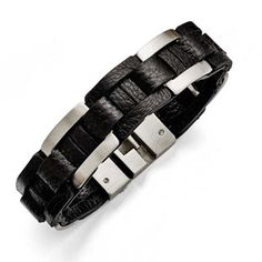 Men's Black Leather Brushed Stainless Steel Bracelet Gemologica.com offers a unique and simple selection of handmade fashion and fine jewelry for men, woman and children to make a statement. We offer earrings, bracelets, necklaces, pendants, rings and accessories with gemstones, diamonds and birthstones available in Sterling Silver, 10K, 14K and 18K yellow, rose and white gold, titanium and silver metal. Shop Gemologica jewellery now for cool and cute design ideas: gemologica.com