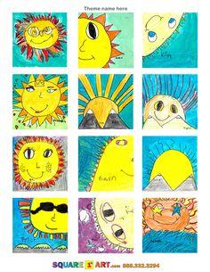 SUNS THEME  Materials: Watercolor, Crayon, Marker  www.square1art.com