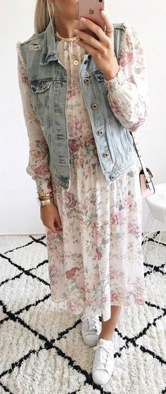 #summer #outfits  Denim Vest + White Floral Maxi Dress + White Sneakers