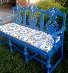 used three old chairs to make a bench http://froufrugal.blogspot.com/2011/07/from-chairs-to-bench.html.  wicked cool