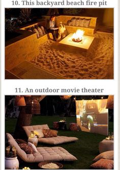 Outdoor sand fire pit. Outdoor theatre.