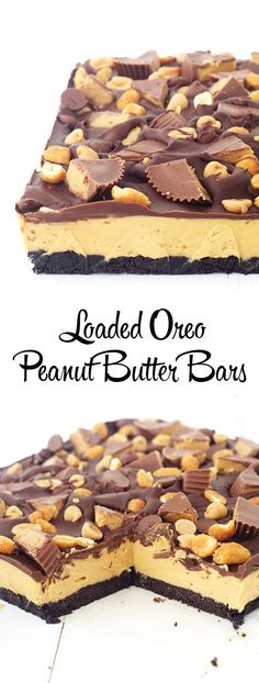 The BEST no bake Peanut Butter Bars with an Oreo crust!