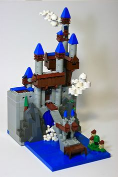 Micro Falls Fortress, a micro-scale LEGO creation, really amazing work with textures and creative use of odd parts.
