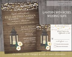 Lantern Wedding Invitations Rustic Fall Or Summer With A Cream White Roses Barn