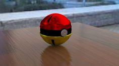 Pokebola, diseño y modelado en 3D, metalizada