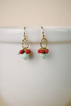 sien011 unique handcrafted artisan designer dangle cluster hoop turquoise jasper earrings for women
