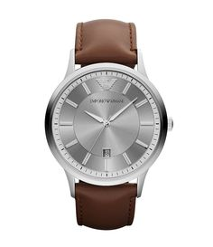 Emporio Armani Stainless Steel 3 Hand and Date Leather Strap Watch
