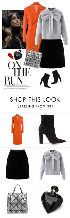 """""""☆"""" by lera-chyzh ❤ liked on Polyvore featuring Maison Margiela, Gianvito Rossi, WithChic, Bao Bao by Issey Miyake, Lipsy, Lipstick Queen, coat, BlackSkirt and redcoat"""