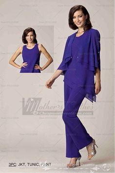 Elegant Asymmetry chiffon 3PC Elastic pants mother of the bride outfit cmo-083