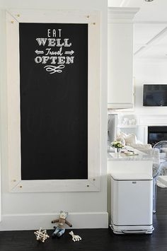 The great thing about making your own chalkboard is that you can cut plywood for a custom fit in your kitchen. Paint the wood with chalk paint, and place it somewhere convenient for cheery reminders and grocery lists.
