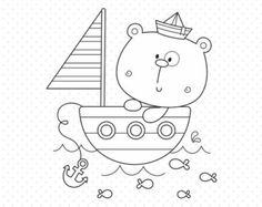OFF Baby sailor bear Stamp - personal and commercial use, line art, graphics, digital clip art, digital images - Cute Illustration, Watercolor Illustration, Baby Posters, Diy Bebe, Wedding Art, Baby Decor, Digital Stamps, Animal Design, Animals For Kids