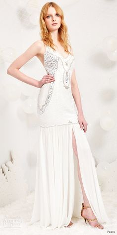 persy spring 2017 bridal sleeveless vneck embellished bodice fit flare wedding dress slit skirt (alessandra) mv glam