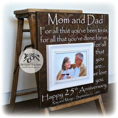 25th Anniversary Gifts for Parents, Silver Anniversary Gift, 25th Wedding Anniversary Gift, Anniversary Keepsake Frame 16x16 by thesugaredplums on Etsy
