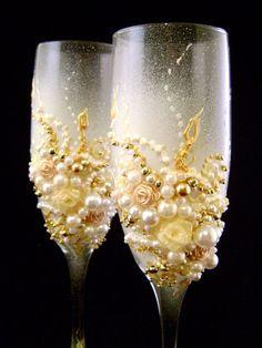 jeweled champagne glasses.