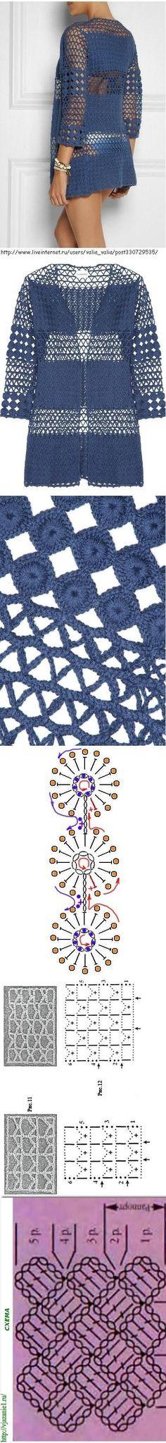 19 trendy ideas for crochet top diagram tags Gilet Crochet, Crochet Coat, Crochet Motifs, Crochet Jacket, Crochet Cardigan, Crochet Clothes, Crochet Stitches, Crochet Patterns, Cardigan Azul