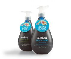Method Ocean Plastic. The world's first bottle made with a blend of recovered ocean plastic and post-consumer recycled plastic, a combination that results in a uniquely gray resin.