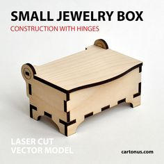Wooden jewelry box with hinges. Small. Front view by cartonus.deviantart.com on @DeviantArt