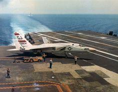 RA-5C Vigilante of Reconnaissance Attack Squadron RVAH-3 on the flight deck of the aircraft carrier Saratoga (CVA 60).