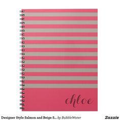 Designer Style Salmon and Beige Stripes Spiral Notebook
