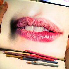 #dibujo #labios #realismo #color