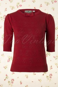 Collectif Clothing - 50s Annie Cherry Top Vintage Red