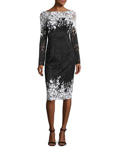 Long-Sleeve+Floral+Point+d\'Esprit+Sheath+Dress,+Black/White+by+David+Meister+at+Neiman+Marcus.