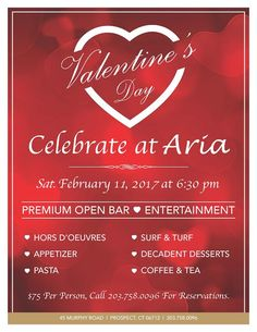 Join us for a romantic Valentine's Day - Saturday, February 11 at 6:30pm. Reservations are required.
