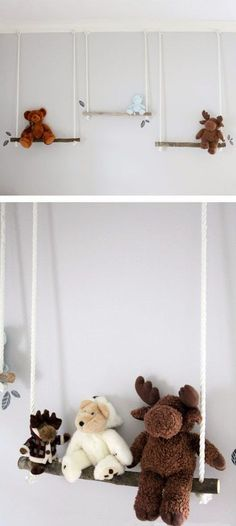 DIY Branch Swing Shelves - Big girl room- Stuffed Animal Branch Swing – Adoooorable storage and display for stuffed animals in a nursery or child& room! Stuffed Animal Displays, Organizing Stuffed Animals, Stuffed Animal Storage, Diy Stuffed Animals, Stuffed Toys, Stuffed Animal Zoo, Kids Room Organization, Big Girl Rooms, Kids Rooms