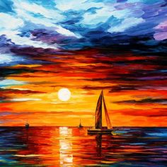 "Touch of Horizon — PALETTE KNIFE Oil Painting On Canvas By Leonid Afremov - Size: 40"" x 30"""