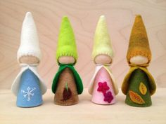 The 4 Seasons  Wooden Peg Gnomes  Winter Spring by SepAndAugust, €31.50