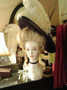 Marie Antoinette Hat Century Gainsborough Black by finnmoxa 18th Century Dress, 18th Century Costume, 18th Century Clothing, 18th Century Fashion, Historical Costume, Historical Clothing, Historical Dress, Marie Antoinette Costume, Pelo Vintage