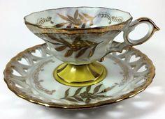 VINTAGE ROYAL HALSEY GOLD TRIM VERY FINE BONE CHINA TEA CUP & SAUCER SET