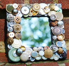 handmade recycled button mosaic mirror by MosaicTreasureBox, $29.99