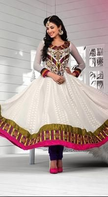 Sonal Chauhan Off White Flared Anarkali Suit