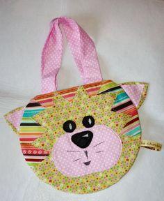 sac en tissu pour enfant (chat fond vert)