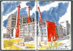 30th Barcelona SketchCrawl: Paral-lel, Poble-sec.. by Miguel Herranz