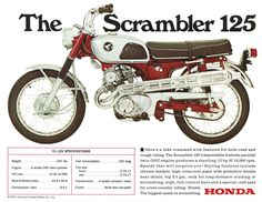 HONDA Brochure CL125 CB125 Twin 1960s REPRO Sales Catalog   eBay