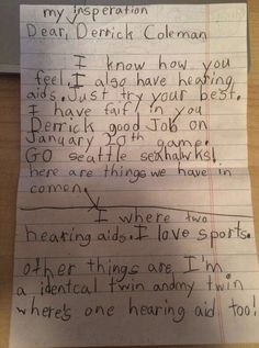 A little girl with a hearing aid wrote a letter to her 'insperation,' Seahawk Derrick Coleman. Here's what he wrote back.