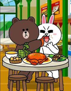 Stop eating Cony!((( U r cony ))) the white one . Cute Couple Cartoon, Cute Couple Art, Cute Love Cartoons, Kawaii, Ramadan Cards, Bear Gif, Cony Brown, Chibi Cat, Gifs