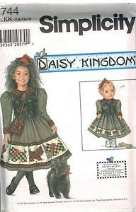 7744 UNCUT Simplicity Sewing Pattern Girls & Doll Daisy Kingdom Dress + Purse FF | eBay