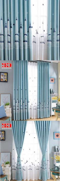 Stars Castle Cotton Linen Curtains for Kids Bedroom Embroidered Blue Cartoon Children Curtains Fabric Voile Window Custom size