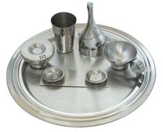 Uberlyfe Diwali Stainless Steel Puja Thali Set With Gift Packaging