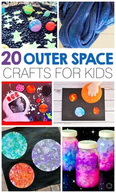 20 Outer Space Crafts For Kids! Make galaxy jars, space play dough, astronaut pictures and so much more! Great for a space unit with preschool, kindergarten or first-grade kids!