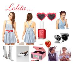 """""""My sweet Lolita"""" by dandelionapril ❤ liked on Polyvore featuring Dahlia, Linda Farrow, Jessica Simpson, Manolo Blahnik, Dominique, Essie, Kenneth Jay Lane and Cacharel"""