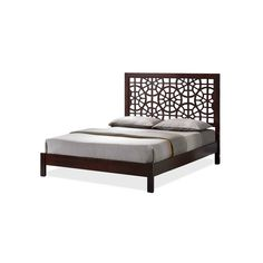 Sakuro Circle Pattern Modern And Contemporary Wooden Platform Base Bed Frame - King - Dark Brown - Baxton Studio