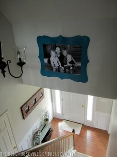 """Frame a big poster size photo using this tutorial - go to Staples and request an """"engineer"""" print which is can be as large as 3 ft x 4 ft.  The best part?  It is somewhere around $5.  http://www.infarrantlycreative.net/2012/03/shaped-frame-family-photo.html  #tutorial #diy #large #photo #staples #big #print #poster #size"""