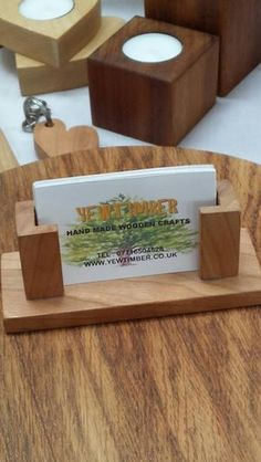 Business card holder business card stand rustic office decor check out this item in my etsy shop httpsetsylisting201803155hand crafted wooden business card holder reheart Gallery