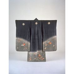 Childrens Furisode (Long-Sleeved Kimono) with Flowering Plants of the Four Seasons on Parti-colored Ground, Meiji Period, 19th c, Kyoto National Museum