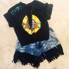 Guns N Roses Lace Up Tee from Trendy and Tipsy