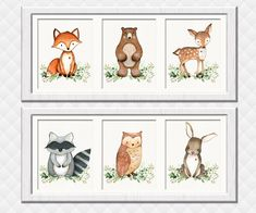 Woodland Nursery art prints Neutral gender wall decor girl boy room decoration baby shower gift toddler fox owl deer bear raccoon bunny